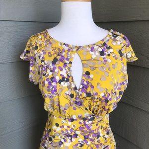 Purple/Yellow body flattering dress with Spandex